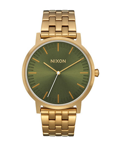 Nixon Porter Goldtone Stainless Steel Link Bracelet Watch-GREEN-One Size