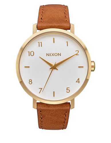 Nixon Analog Arrow Leather Gold White Saddle Leather Strap Watch-GOLD-One Size