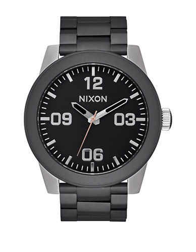 Nixon Analog Corporal Matte Black Stainless Steel Bracelet Watch-MULTI-One Size