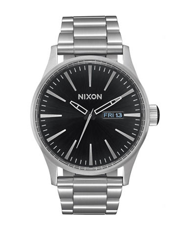 Nixon Analog Sentry SS Black Sunray Stainless Steel Bracelet Watch-BLACK-One Size