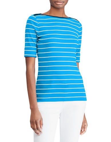 Lauren Ralph Lauren Striped Cotton Boatneck Top-CYAN-Large