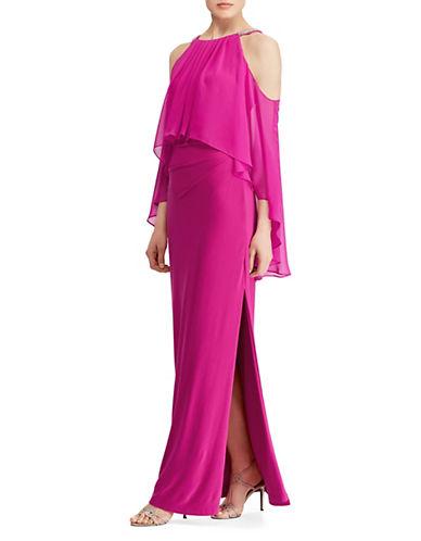 Lauren Ralph Lauren Beaded Georgette-Jersey Cold-Shoulder Gown 90031831