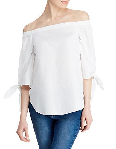 Lauren Ralph Lauren Elbow-Sleeve Cotton Top-WHITE-Medium 90089599_WHITE_Medium