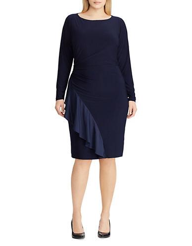 -Chaps Plus Long Sleeve Satin Ruffle Dress