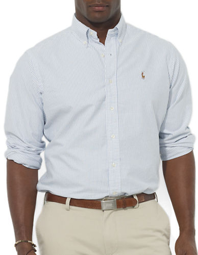 Polo Ralph Lauren Big and Tall Classic-Fit Striped Oxford Sport Shirt-BLUE-1X Tall