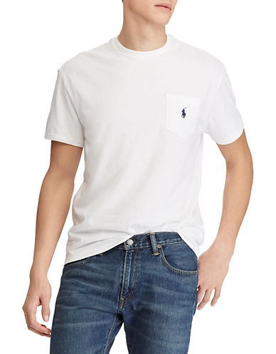 Polo Ralph Lauren Big and Tall Short-Sleeved Pocket Crewneck T-Shirt-WHITE-4X Tall