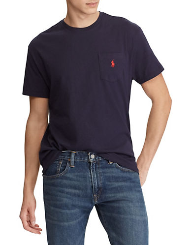 Polo Ralph Lauren Big and Tall Short-Sleeved Pocket Crewneck T-Shirt-BLUE INK-1X Tall