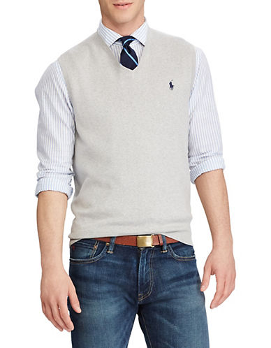Polo Ralph Lauren Pima Cotton V-Neck Sweater Vest-LIGHT GREY HEATHER-Small 82667148_LIGHT GREY HEATHER_Small