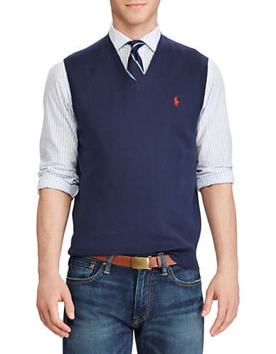 Polo Ralph Lauren Cotton V-Neck Sweater Vest-NEWPORT NAVY-Large