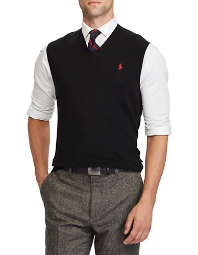 Polo Ralph Lauren Cotton V-Neck Sweater Vest-POLO BLACK-Medium