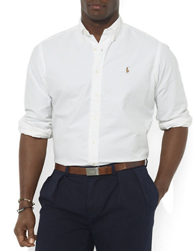 Polo Ralph Lauren Big and Tall Classic-Fit Solid Oxford Sport Shirt-WHITE-4X Tall