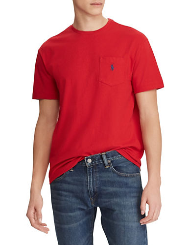 Polo Ralph Lauren Big and Tall Short-Sleeved Pocket Crewneck T-Shirt-RED-2X Tall