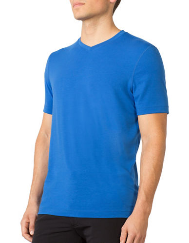 Mpg Tower V-Neck T-Shirt-BLUE-Large