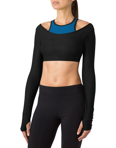 Mpg Barre Long-Sleeve Bra Top-BLACK/COBALT-X-Large 88570584_BLACK/COBALT_X-Large