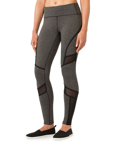 Mpg Shuffle Mesh Insert Herringbone Leggings-BLACK-Medium 88676921_BLACK_Medium