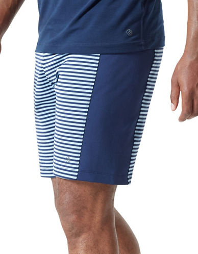 Mpg Stripe Elasticized Shorts-BLUE-Small