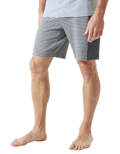 Mpg Stripe Elasticized Shorts-CHARCOAL-Large