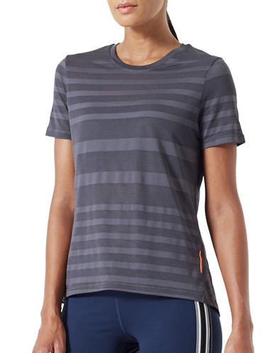 Mpg Striped Mesh T-Shirt-CHARCOAL-X-Large