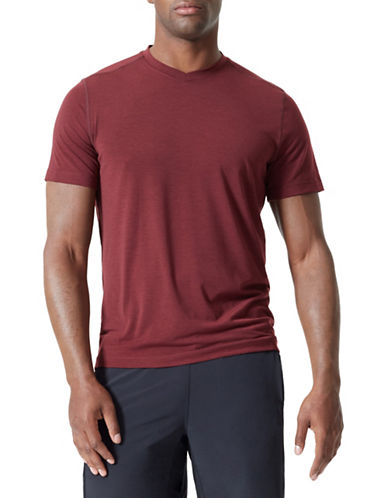 Mpg Tower V-Neck Tee-RED-Medium
