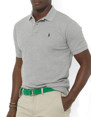 Polo Ralph Lauren Big and Tall Classic-Fit Short-Sleeved Cotton Mesh Polo-ANDOVER HEATHER-5X Big