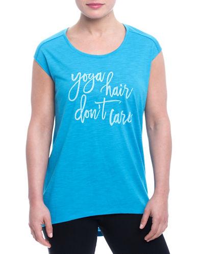 Gaiam Dani Yoga Hair Dont Care Tee-BLUE-Small