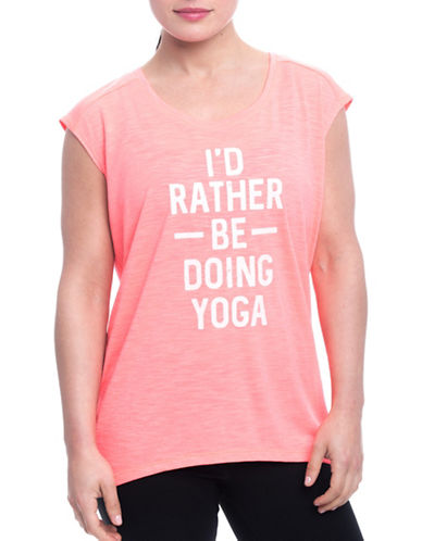 Gaiam Dani Id Rather Be Doing Yoga Tee-CORAL-Small