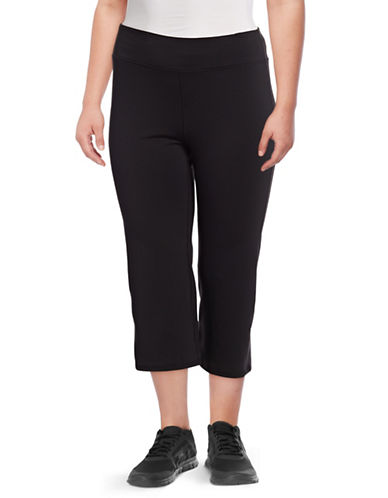 Gaiam Plus Om Straight Yoga Capri Pants-BLACK-2X