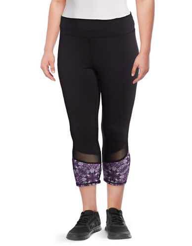 Gaiam Plus Om Mesh Capri Pants-BLACK-2X