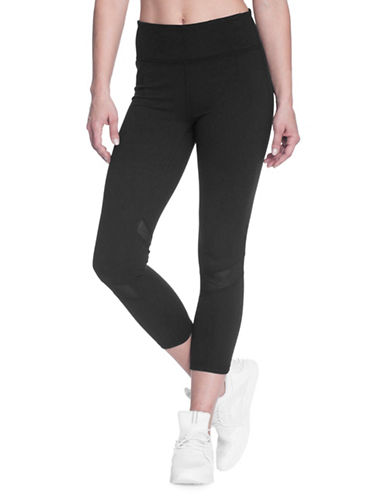 Gaiam Om Luxe Mesh Capri Leggings-BLACK-X-Small 89750596_BLACK_X-Small