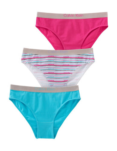 Calvin Klein Three-Pack Chrome Bikini Bottom Set-BLUE-X-Large