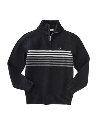 Calvin Klein Linear Chest Stripe Quarter-Zip Sweater-BLACK-Large 88778930_BLACK_Large
