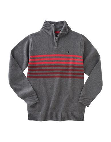 Calvin Klein Linear Chest Stripe Quarter-Zip Sweater-GREY-Medium 88778933_GREY_Medium