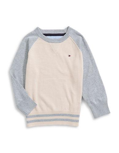 Tommy Hilfiger Colourblock Crew Neck Sweater-WHITE/GREY-4 88753176_WHITE/GREY_4