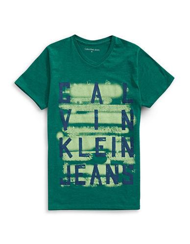 Calvin Klein Taped V-Neck Graphic T-Shirt-GREEN-Medium 89044757_GREEN_Medium