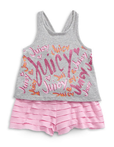 Juicy Couture Frill Shorts and Tank Two-Piece Set-PINK-3X