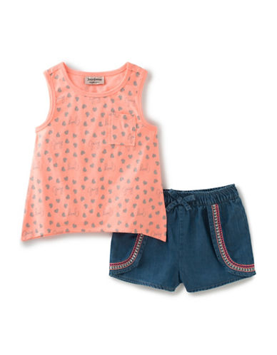 Juicy Couture Two-Piece Hearts Tank Top and Denim Shorts Set-BLUE-6