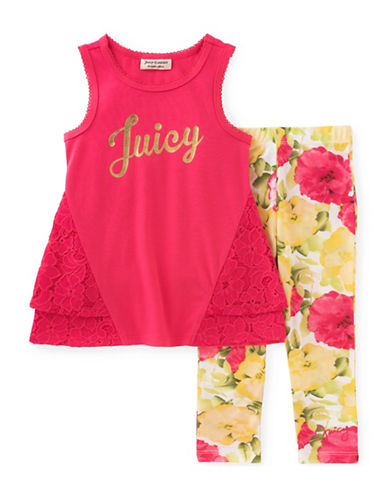 Juicy Couture Two-Piece Logo Top and Floral Leggings Set-ASSORTED-3X