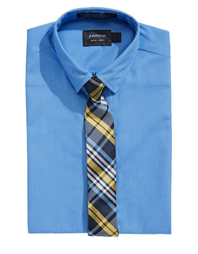 Arrow Dress Shirt and Tie Set-BLUE-7