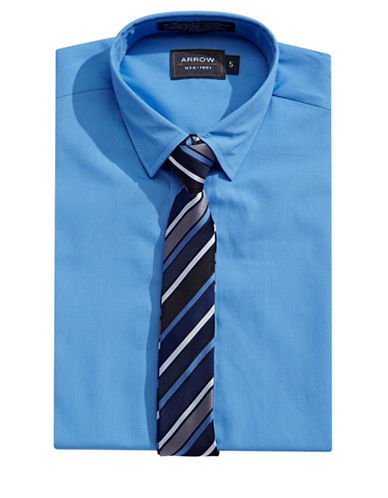 Arrow Dress Shirt and Tie Set-BLUE-4