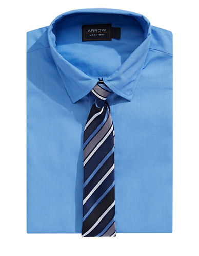 Arrow Dress Shirt and Tie Set-BLUE-10