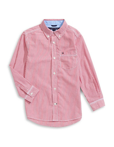 Tommy Hilfiger Striped Button-Down Shirt-PINK-5