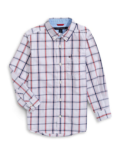 Tommy Hilfiger Checkered Button-Down Shirt-WHITE-5