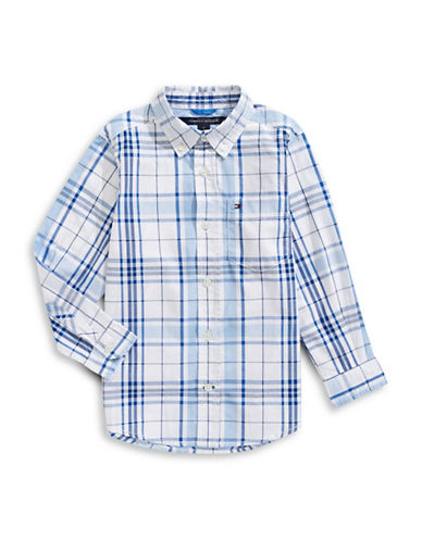 Tommy Hilfiger Plaid Button-Down Shirt-WHITE-5
