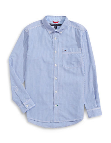 Tommy Hilfiger Striped Button-Down Shirt-BLUE-Large
