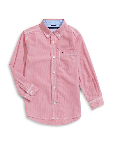 Tommy Hilfiger Striped Button-Down Shirt-PINK-Small