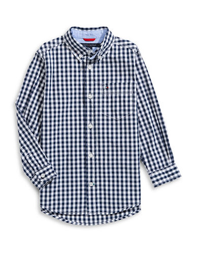 Tommy Hilfiger Checkered Button-Down Shirt-BLUE-Small