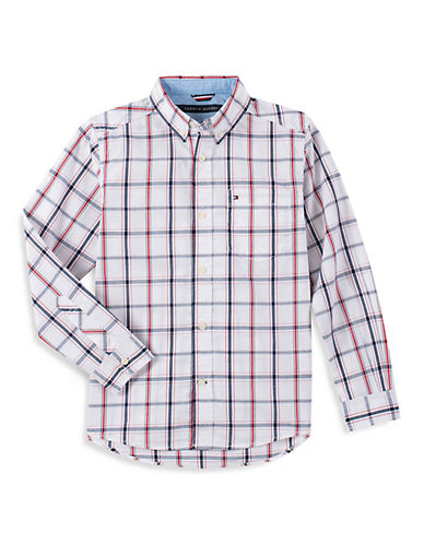 Tommy Hilfiger Plaid Button-Down Shirt-WHITE-X-Large