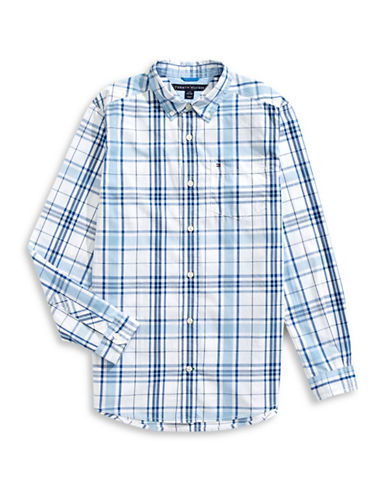 Tommy Hilfiger Ethan Plaid Sport Shirt-WHITE/BLUE-Large