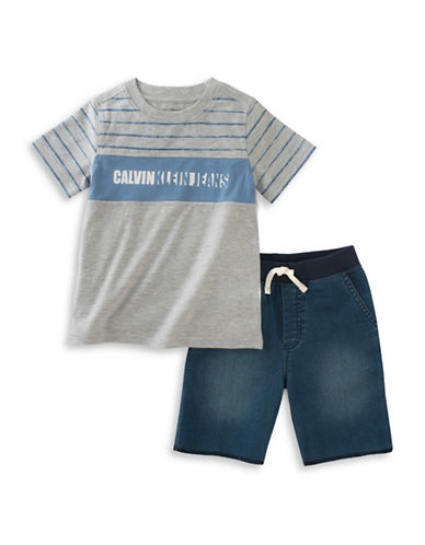 Calvin Klein Two-Piece Tee and Short Set-GREY-12 Months
