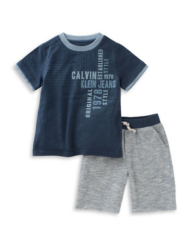 Calvin Klein Two-Piece Knit Tee and Short Set-NAVY-12 Months